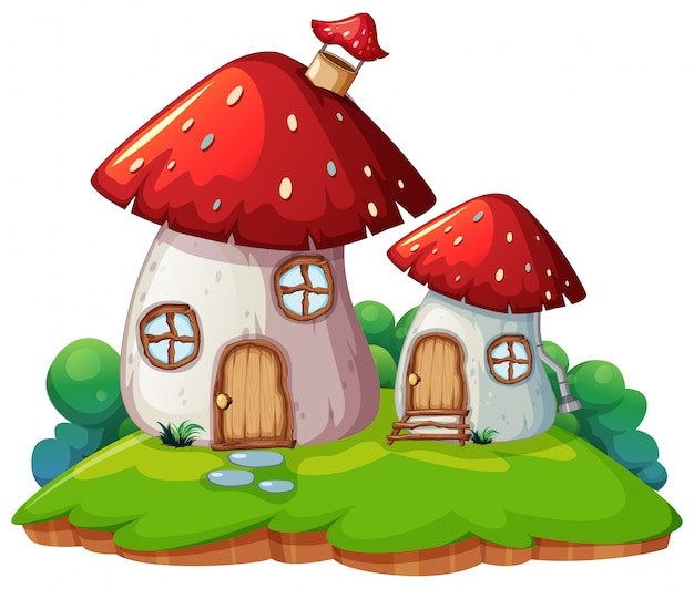 Mushroom home isolated scene
