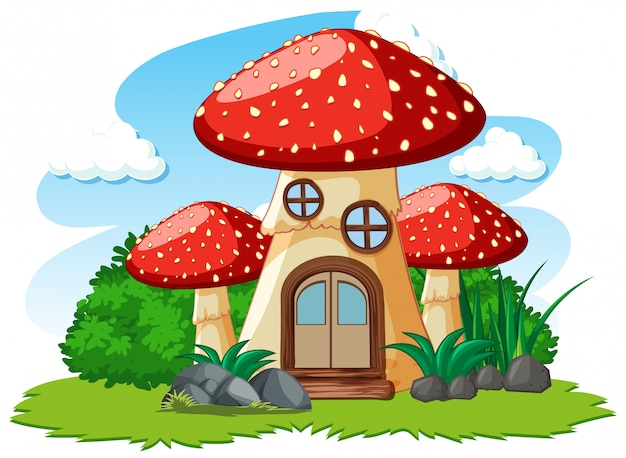 キノコの家と白い背景の上のいくつかの草の漫画のスタイル