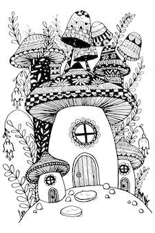 Mushroom house in fairy garden illustration