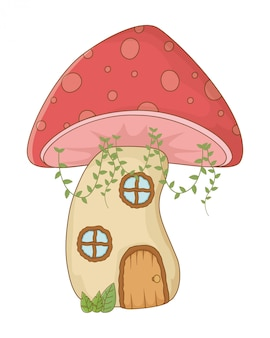 Mushroom house of fairytale design vector illustration
