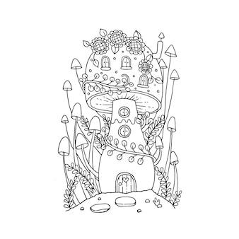 Грибной домик в каракулях сказки. изолированная иллюстрация