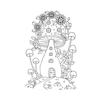 Грибной домик в каракулях сказки. изолированная иллюстрация Premium векторы