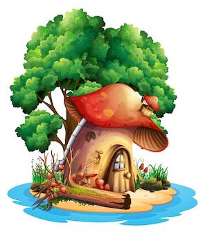 Mushroom house on island
