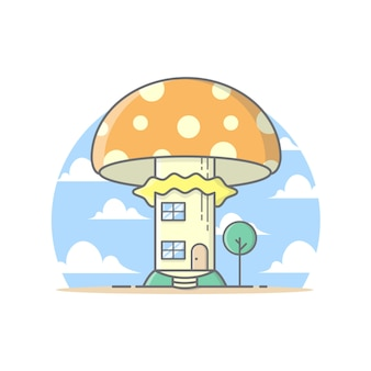 Mushroom house with clouds and sky