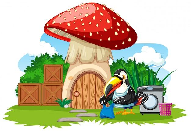 Грибной домик с милой птичкой в мультяшном стиле на белом фоне