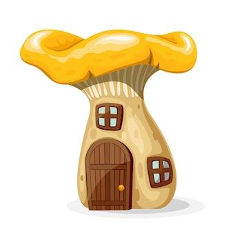 ドアと窓のあるキノコの家。白い背景で隔離のおとぎ話の家。図