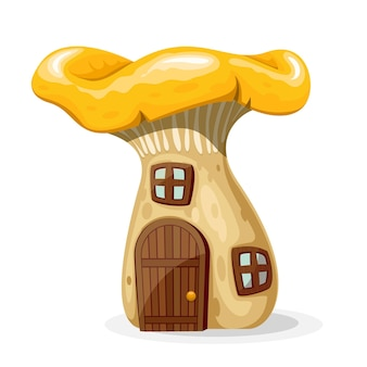 Mushroom house with door and windows. fairytale home isolated on white background. illustration