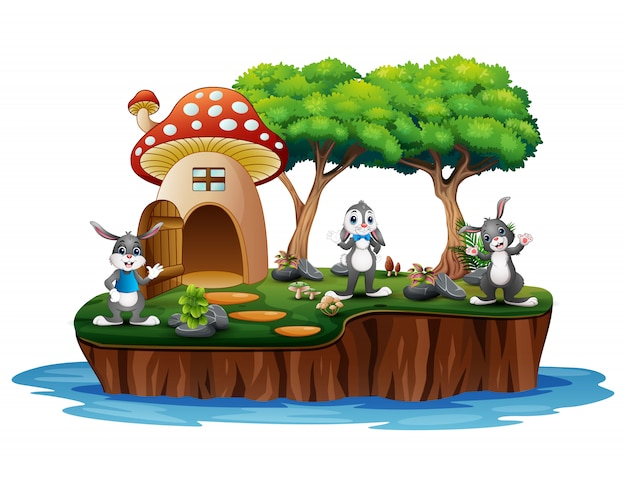 A mushroom house with many rabbits on island