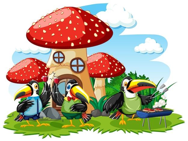 白い背景の上の3羽の鳥の漫画スタイルのキノコの家