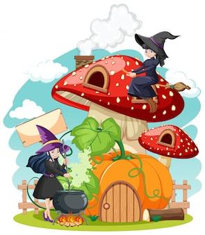 Грибной дом с ведьмами мультяшном стиле, изолированные на фоне
