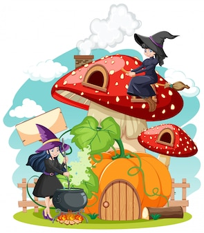 Mushroom house with witches cartoon style isolated on with background