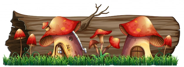 Mushroom houses by the log