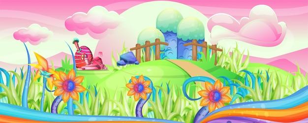 Mushroom houses in the garden illustration