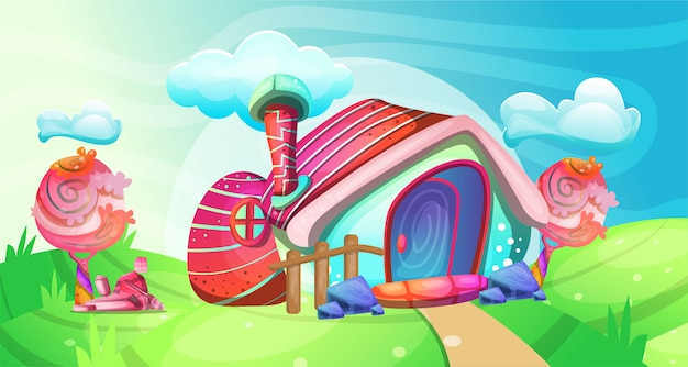 Mushroom houses in the garden illustration