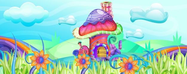 정원 그림에서 버섯 주택 프리미엄 벡터
