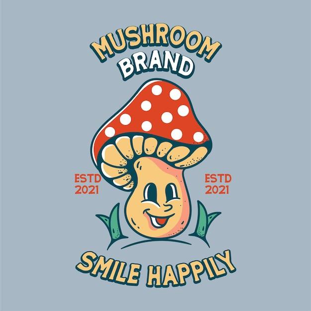 Mushroom illustration with skull classic vintage retro design for t shirts