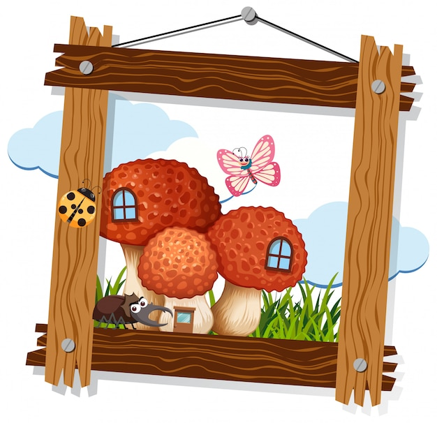 Mushroom and insect on wooden frame