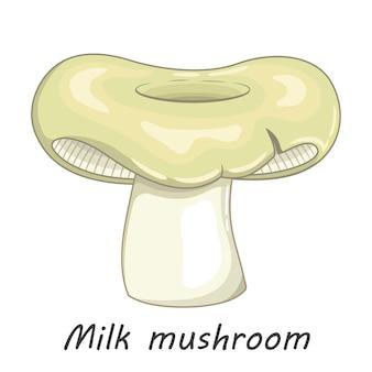 Mushroom isolated on white. edible milk mushroom. flat cartoon style