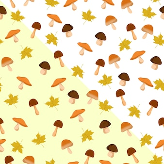 Mushroom and leaves seamless pattern