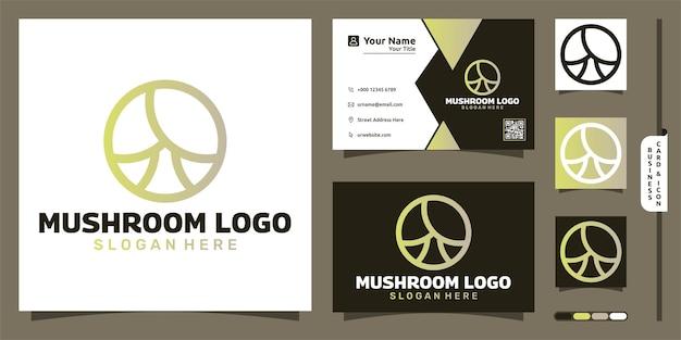 Гриб lineart логотип современная концепция и дизайн визитной карточки