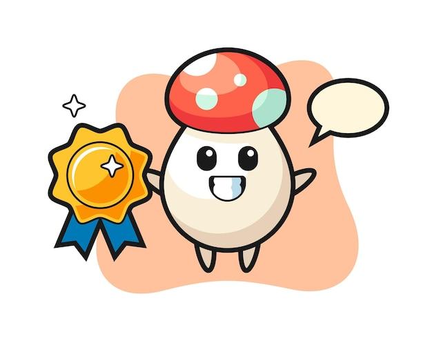 Mushroom mascot illustration holding a golden badge, cute style design for t shirt, sticker, logo element
