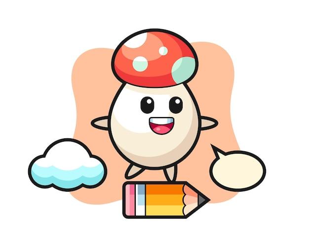 거대한 연필을 타고 있는 버섯 마스코트 그림, 티셔츠, 스티커, 로고 요소를 위한 귀여운 스타일 디자인