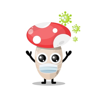 Mushroom mask virus cute character mascot