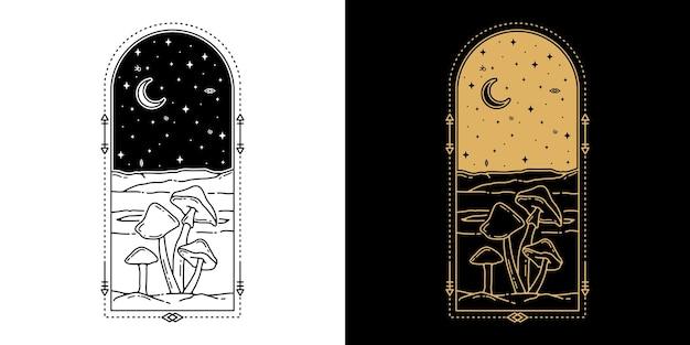 버섯 monoline 문신 디자인