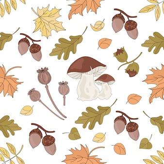 Mushroom nature seamless pattern