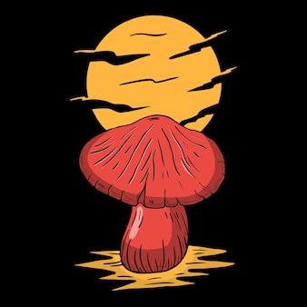 Mushroom night moon