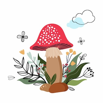 Mushroom and plants, isolated on white