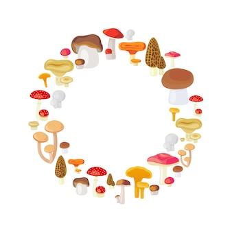 Mushroom round frame isolated on white