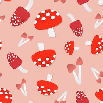 버섯 원활한 패턴 배경, 귀여운 음식 벡터 일러스트 레이 션