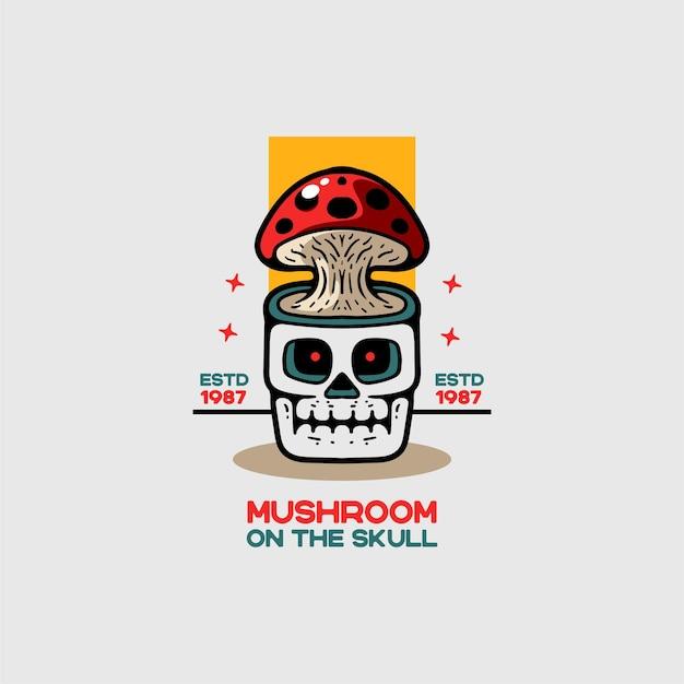 Mushroom and skull vintage style