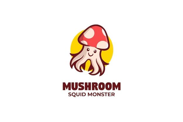 버섯 오징어 로고 마스코트