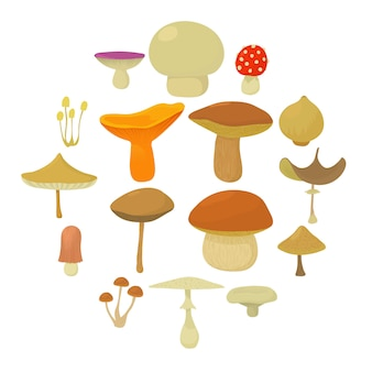Mushroom types icons set, cartoon style
