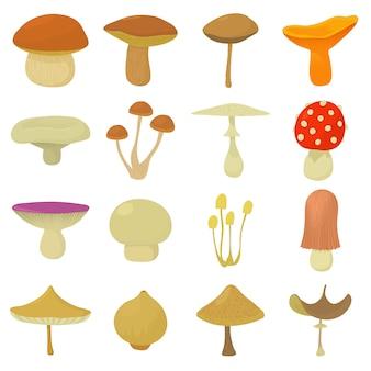 Mushroom types icons set