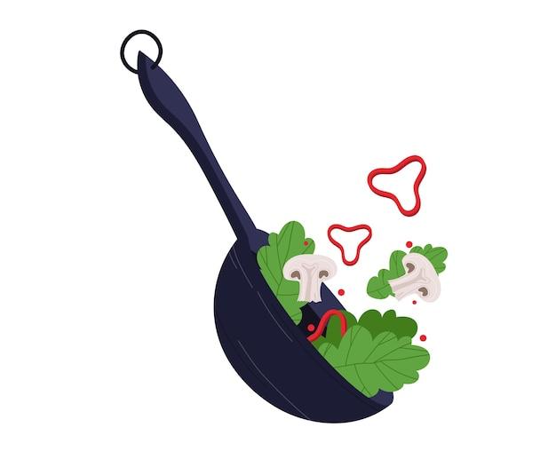 キノコの野菜サラダ、健康食品、オーガニック製品、ベジタリアン、白、デザイン、フラットスタイルのイラストで隔離。新鮮な食材、料理レストラン、ビタミングリーンの朝食、健康的な食事