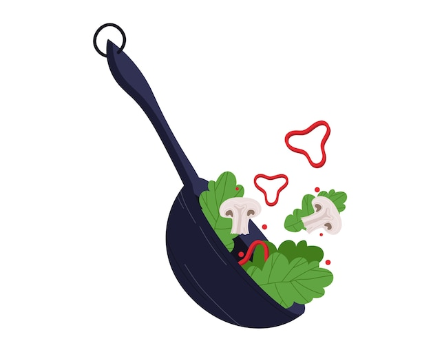 Mushroom vegetable salad, healthy food, organic product, vegetarian, isolated on white, design, flat style illustration. fresh ingredient, dish restaurant, vitamin green breakfast, healthy diet