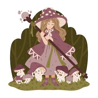 魔法の杖とマントとベニテングタケの帽子をかぶったキノコの魔女