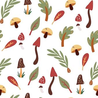 버섯과 잎 원활한 패턴 손으로 그린 가을 식물학 질감 자연 숲 요소