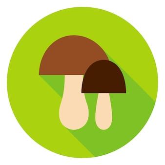 Грибы круг значок. векторные иллюстрации. осенний сезонный лесной объект.