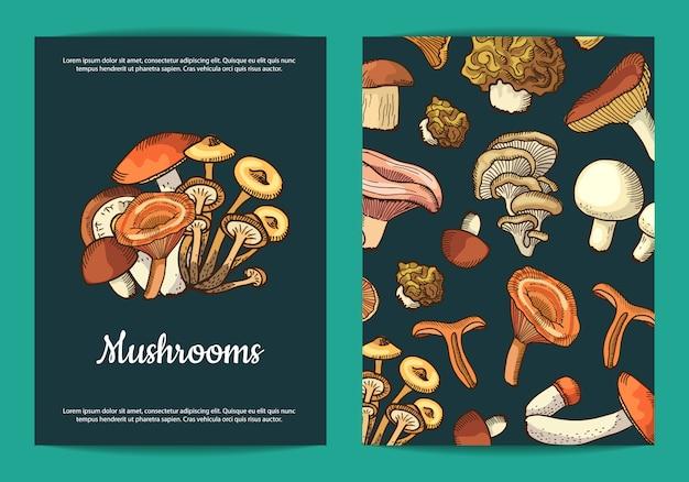 Mushrooms flyer template for restaurant
