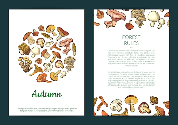 Mushrooms flyer template
