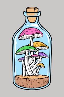 Грибы в бутылке иллюстрации