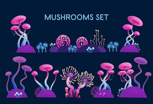 버섯 세트. 판타지 버섯과 마법의 식물. 공간의 그림입니다. 게임 및 모바일 애플리케이션에 대한 세부 정보