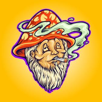 작업을 위한 버섯 마녀 모자 곰팡이 흡연 벡터 삽화 로고, 마스코트 상품 티셔츠, 스티커 및 라벨 디자인, 포스터, 인사말 카드 광고 비즈니스 회사 또는 브랜드.
