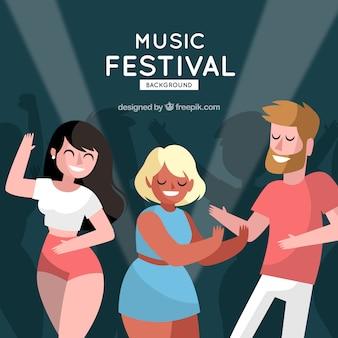 フラットデザインのmusiс祭の背景