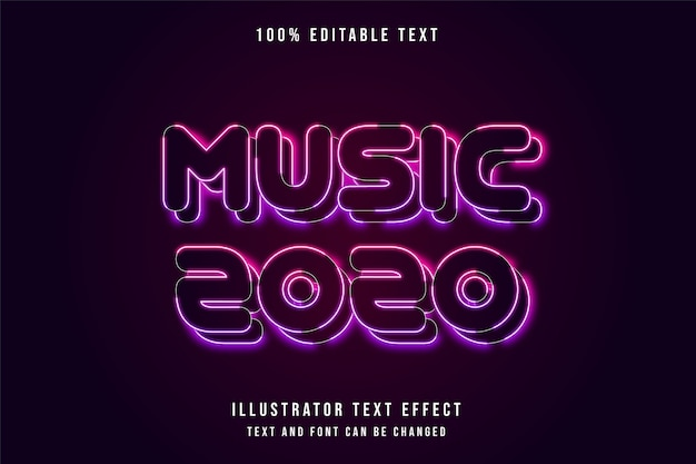 Music 2020,editable neon text effect pink purple neon style