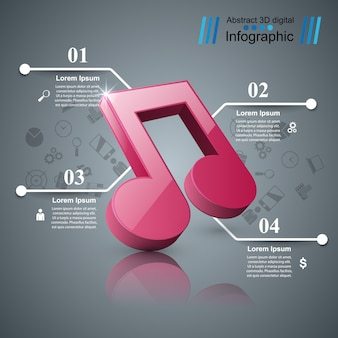 Music 3d digital illustration infographic.